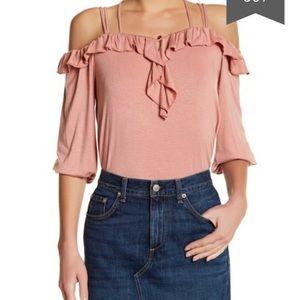 Emilia ruffled long sleeve cold shoulder top sz M
